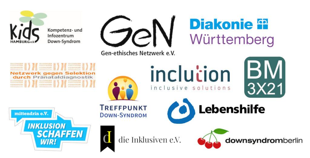 Logoliste: KIDS Hamburg e.V., Gen-ethisches Netzwerk e.V., Diakonie Württemberg, Netzwerk gegen Selektion durch Pränataldiagnostik, Treffpuntk Down-Syndrom, inclution - inclusive solutions, BM 3x21, mittendrin-Inklusion schaffen wir, die inklusiven, downsyndrom berlin